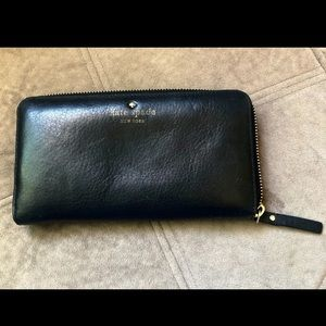 Kate spade Black leather zip around wallet